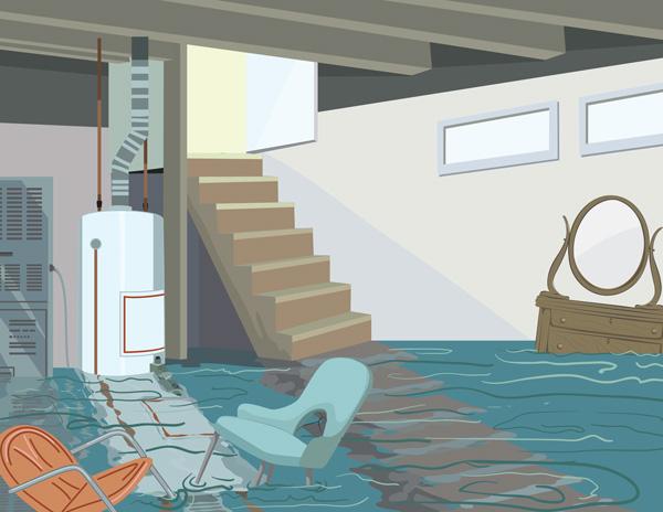 Flooded basement due to sump pump failure
