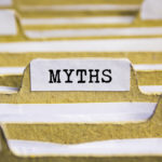 Myths word on card index paper