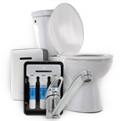 Various plumbing items including a toilet, a fawcet, and an on-demand water heater