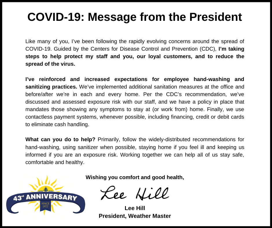 Weather Master Message about COVID